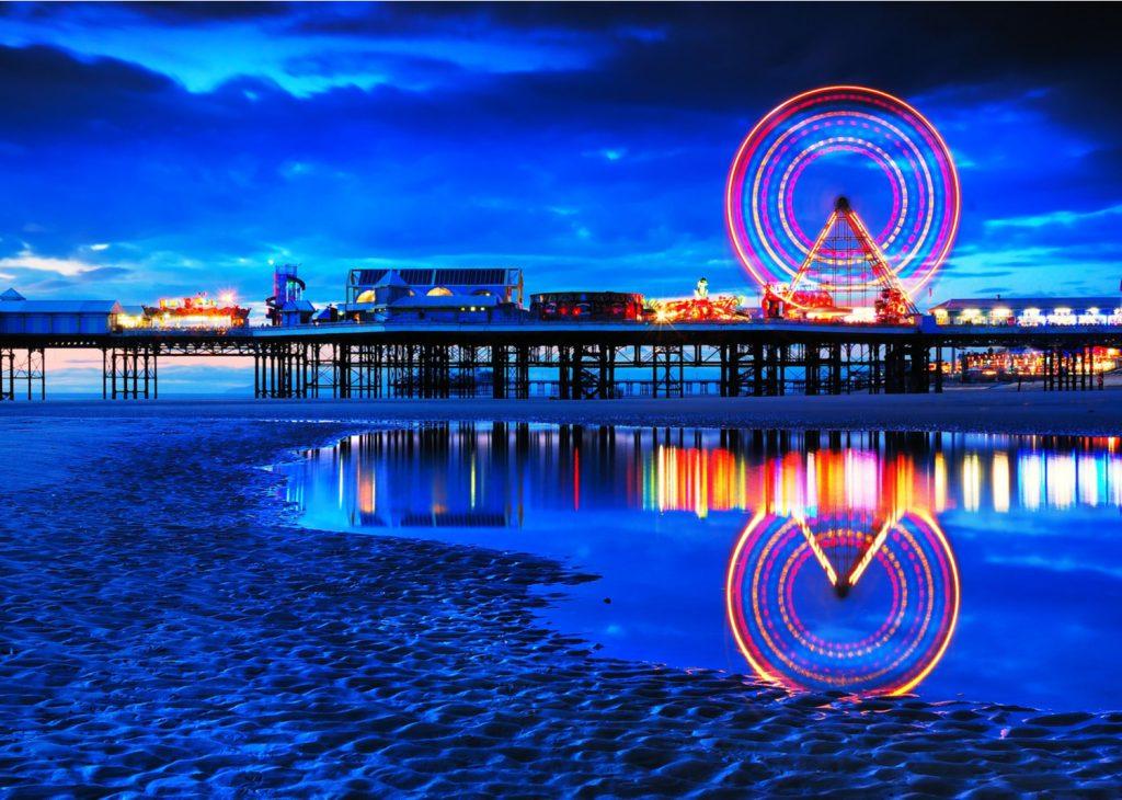 Blackpool Pier lit up at night